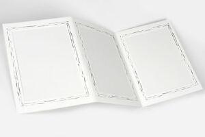 5 weiße Leporello für Bildmaß 13 x 18 cm mit filigranem Silberrand Portraitmappe