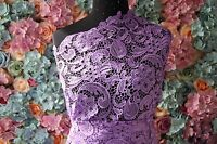 G43 Purple Guipure Lace bridal lace 120cm wide-Sold  by 1/2 yard