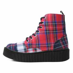 T.U.K. Shoes Mixed Red Plaid 7-Eyelet Casbah Boot