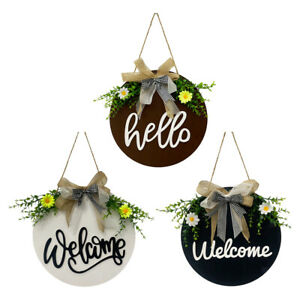 Rustic Round Flower Welcome Sign Front Door Wreath Pendant Home Porch Decor
