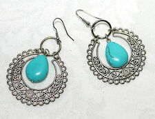 "Blue Turquoise Round Drop Dangle 2 1/2"" Lace Silver Earrings NEW!"