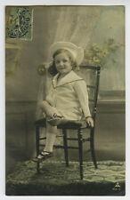 c 1908 Child Children SAILOR SUIT GIRL European photo postcard