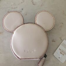 °o° Disney X Coach F59071 Mickey Leather MICKEY Ears Chalk Coin Purse