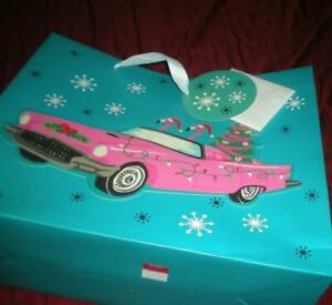 "NEW KENSIE PINK FLAMINGO CHRISTMAS GIFT BAG 19"" x 16"" x 7.75"" CADILLAC SANTA HAT"