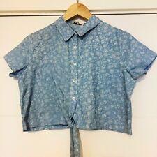 Women's Crop Denim Blue Printed Shirt Size Uk 10