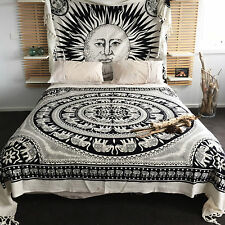 Elephant Indian Tapestry Wall Hanging Hippie Bohemian Mandala White Bedspread XL