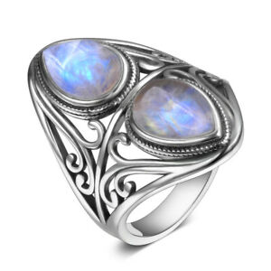 925 Silver Natural Rainbow Moonstone Charoite Vintage Rings Jewelry Wholesale