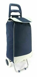 Large Capacity Strong Wheelie Shopping Trolley Folding Durable Wheeled Bag Navy