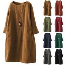 Womens Winter Autumn Shirts Dress Long Tops Tunic Ladies Baggy Casual Midi Dress