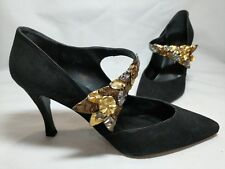 Patricia Lynne Black Suede High Heel Pumps Metallic Colored Decorated Strap Sz10