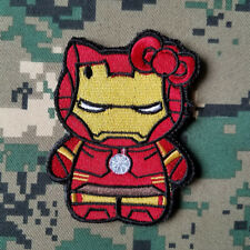 Avengers Hello Kitty Iron Man Morale Hook Patch Embroidered Tactical Badge Red