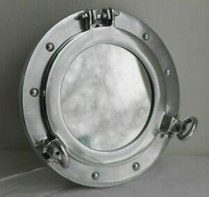 Coastal Design Wall Mounted Polished Metal Nautical Maritime Porthole Mirror