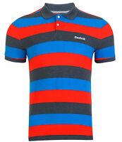 New Mens Reebok Striped Pique Polo Shirt T-Shirt - Red Blue Grey Stripe