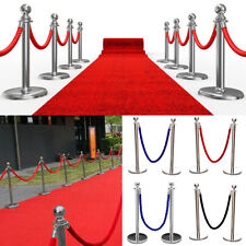 2xPolished Steel Queue Rope Barrier Posts Stands Twisted Rope Stanchion New