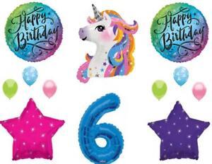 Blue 6th Neon RAINBOW UNICORN Happy Birthday Party Balloons Decoration Girl