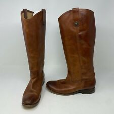 Frye Women's Melissa Button 2 Italian Leather Brown Cognac Pull On Riding Boots
