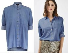 TOPSHOP JEAN LOOK LIKE OVERSIZED COTTON DENIM BLUE CHAMBRAY SHIRT TOP SZS 6 to12