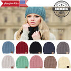 CC Beanie Trendy Kids Simple Women Men Winter Thick Solid Cable Knit Hat