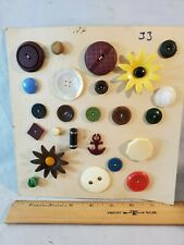 Card No. 33 Vintage Antique Buttons Plastic Bakelite Flowers NO Reserve