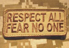 RESPECT ALL FEAR NO ONE BADGE US ARMY USA DESERT TACTICAL MORALE VELCRO PATCH