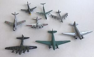 """Lot Of 8 Diecast Military Airplanes Wing Span 3""""-5"""""""