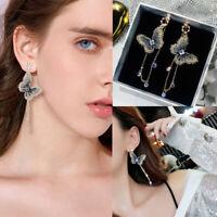 Gold Embroidery Butterfly Crystal Long Tassel Drop Dangle Earrings Jewelry Gift