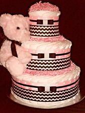 Pink and Black Chevron Diapercake with Pink Shining Star Plush Bear