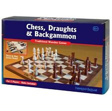Tobar CHESS DRAUGHTS BACKGAMMON 3 in 1 Classsic Wooden GAMES SET