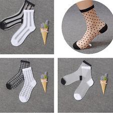 Women/Girl's Ultrathin Crystal Silk Mesh Transparent Short Ankle Socks CA