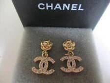 Authentic CHANEL CC pierced Dangling  earrings  (Camellia-stones CC)