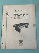 1961 Montgomery Ward Pool Table Manual CRS-6069