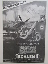 9/1945 PUB TECALEMIT AIRCRAFT ENGINE HEATER ROYAL AIR FORCE FIGHTERS ORIGINAL AD