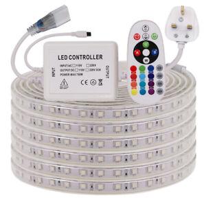 1-25M RGB LED Strip 220V 240V 5050 60LED/M Waterproof Tape Lights Rope UK Plug