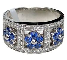 Blue Sapphire Diamond Flower 18K White Gold Floral Half-Eternity Band Ring