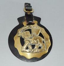 Old Horse Brass On Leather Fob - Elephant and Castle.