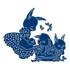 Tattered Lace Dies BUNNY BATHTIME Rabbit Family Metal Cutting Die  TLD0334