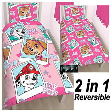 PAW PATROL STARS SINGLE DUVET COVER SET NEW PINK REVERSIBLE 2 in 1