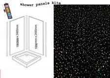 BLACK RAINBOW SPARKLE   SHOWER WALL PANELS KITS 2X1M X 2400X 10MM THICK WET WALL