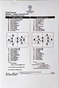 BSC Young Boys v Man Utd 14/9/2021, Champions League Group F, UEFA Team Sheet
