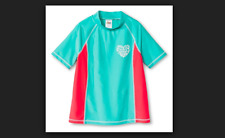 Circo Heart Girls Size 12 Plus Short Sleeve Rash Guard Teal and Coral NWT NEW