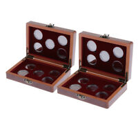 2Pcs Wooden Coins Display Box & 20 Coin Holder Vintage Coin Storage Case