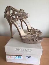 Jimmy Choo 38,5 Uk 5 Beige Heels With Crystals, Fab!