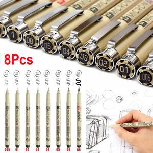 UK Set of 8 Sakura Pigma Micron Pens - Fineliner Drawing Pen Black Archival Ink