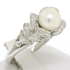 Vintage 14k Solid White Gold Pearl and Single Cut Diamond Pyramid Sides Ring