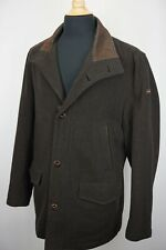 Paul & Shark Yachting Brown Wool Blend Leather Detail Overcoat Jacket Sz XL
