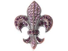 Elegant Amethyst Purple Crystal Fleur-De-Lis Sign Symbol Fashion Pin Brooch Gift