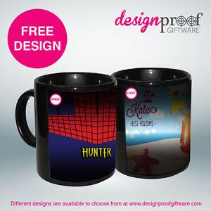 2 X Personalised Coffee Mugs - Colour Changing MAGIC Mugs!!!
