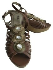 New Brown Strappy Peep Toe Wedge Heels Shoes With Clear Stones Size 8