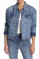 New..! Madewell Women's Heart Print Boxy Denim Jacket M Distressed Collar