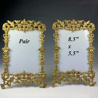 "Pair (2) Antique French Cabinet Card Photo Frame, 8.5"" x 5.5"", Ornate Gold"